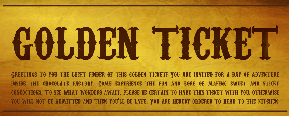 Chilredn Golden Ticket Charlie And The Chocolate Factory
