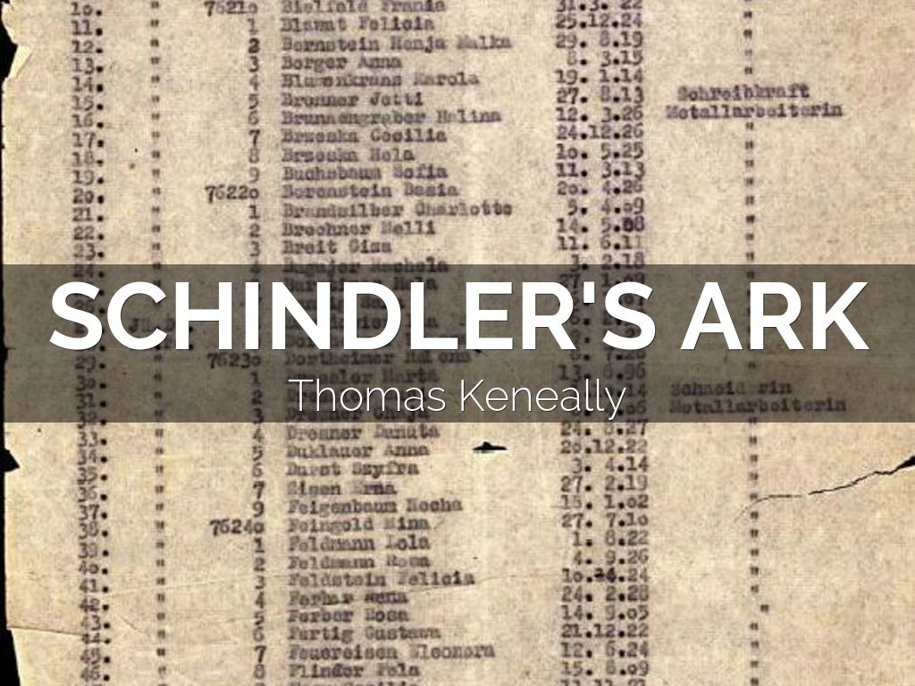 an introduction to the schindlers list by thomas keneally Schindler's list is a 1993 american historical period drama film directed and co-produced by steven spielberg and written by steven zaillianit is based on the novel schindler's ark by australian novelist thomas keneally.